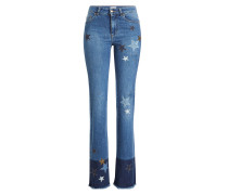 Bestickte Flared Jeans