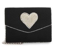 Verzierte Schultertasche Lulu Disco Heart aus Kalbsleder und Samt