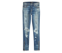 Destroyed Skinny Jeans mit Zippern