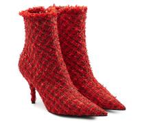 Kitten Heel Ankle Boots mit Tweed