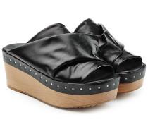 Plateau-Clogs aus Leder