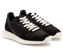 Sneakers mit Veloursleder und Leder