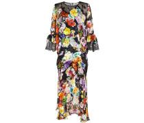 Bedrucktes Kleid mit Seide