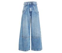 Wide Leg Jeans aus Denim im Patchwork Look