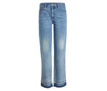 Straight Leg Jeans mit abgesetztem Saum
