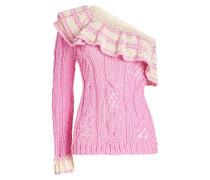 One-Shoulder-Pullover aus Kaschmir mit Volant