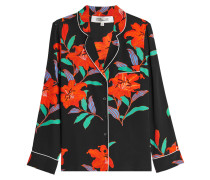 Bedruckte Pyjama-Bluse aus Seide
