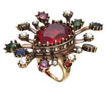 Verzierter Ring mit Schmucksteinen und Kristallen