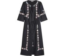 Besticktes Kleid mit Knopfleiste