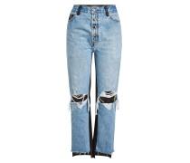Cropped Destroyed Straight Leg Jeans mit Leder