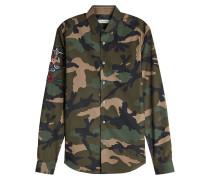 Besticktes Camouflage-Hemd aus Baumwolle