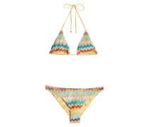 Gemusterter Triangel-Bikini mit Lurex-Fäden