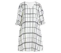 Bedrucktes Kleid aus Seide mit Rüschen