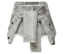 Distressed Jeansshorts mit Knotendetail