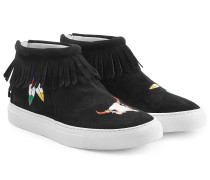 Bestickte High-Top-Sneakers aus Veloursleder