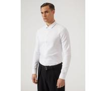 Hemd aus Baumwollstretch mit Kleinem Kragen und Verdecktem Verschluss