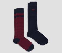 Set mit 2 Socken in Uni und Allover-monogramm