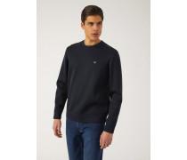 Sweatshirt aus Leichtem Scuba-stoff mit Aufgesticktem Logo An Der Rückseite