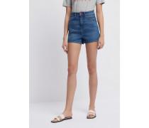 Shorts mit Hoher Taille aus Baumwolldenim