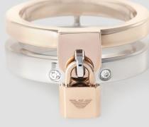 Zweifarbiger Ring aus Edelstahl mit Schloss-anhänger