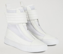 High Top-sneakers Aus Leder Mit Klettverschluss