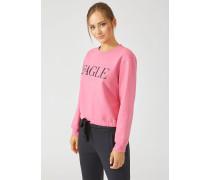 Sweatshirt mit Stickerei und Print Sowie Tunnelzug Am Saum