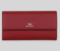Portemonnaie in Querformat mit Knopf und Dreieckdetail