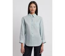 Oversize-bluse aus Leinenstoff mit Geknöpftem Kragen