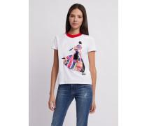 Jersey-t-shirt mit Buntem Aufdruck und Kragen in Kontrastfarben