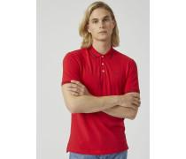 Poloshirt aus Baumwollpikee mit Kontrastierendem Logo An Der Brust