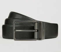 Wendbarer Gürtel Aus Saffian- Und Glattem Leder