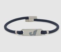 Geflochtenes Armband mit Schild aus Sterlingsilber mit Logo