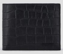 Klapp-portemonnaie aus Leder mit Krokoprägung