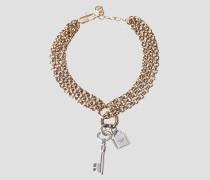 Mehrreihiges Armband mit Schlüssel- und Schlossanhänger