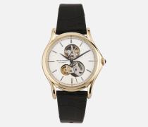Swiss Made Uhr aus Edelstahl und Leder