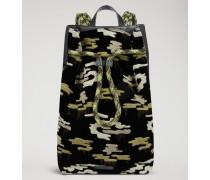 Rucksack aus Samt mit Camouflage-stickmotiv und Genarbtem Leder
