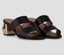 Sandaletten aus Nappaleder mit Zwei Querriemen und Sechseckigem Chrom-absatz