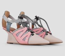 Offene Ankle-boots aus Perforiertem Leder und Neopren