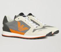 Sneakers aus Wildleder und Funktionsgewebe mit Logo