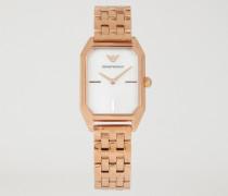 Uhr aus Goldenem Stahl mit Perlmuttzifferblatt