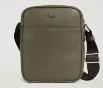 Crossbody Bag aus Leder mit Palmellato-prägung und Logo aus Metall