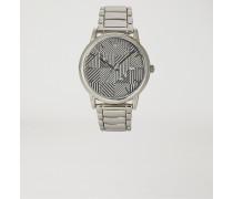 Uhr aus Edelstahl mit Gemustertem Zifferblatt und Dreigliedrigem Armband