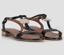 Sandalen aus Lackleder mit Spiegel-details und Logo-medaillon