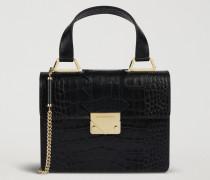 Mini-bag aus Leder mit Kroko-prägung, Profildetail und Tragriemen