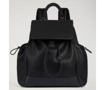 Rucksack mit Verschiedenen Taschen aus Leder mit Eidechsenprägung und Gaufrierter Textur