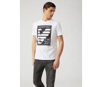 T-shirt aus Baumwolljersey mit Abgesetztem Print