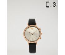 Hybrid-smartwatch mit Eingefassten Brillanten auf dem Zifferblatt