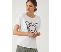 T-shirt mit Logoprint in Vinyl-optik und Knöpfen An Der Schulter