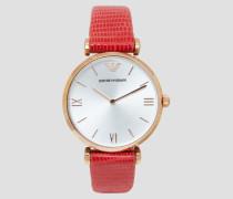 Damenuhr mit Plattierung in Roségold und Armband aus Rotem Leder