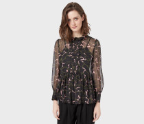 Kleid Aus Crepon-stoff In Leoblumen-print Mit Volant Und Plissee-krawattenschal